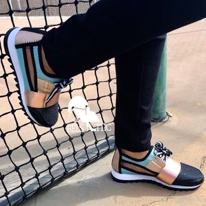 Shoes - Teal and Champagne Sexy Side Cutout Sneaker Kicks